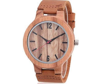 Wood Watch, clock, watch, Brown Wooden watch, mens watch, leather band Wristwatch, Boyfriend Gift, Anniversary Gift, Christmas Gift