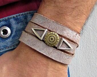 Silver Mens Leather Wrap Bracelet Cuff, Geometric Unisex Bracelet, Adjustable to your wrist