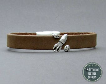 Space Rocket Mens Leather Bracelet Cuff Leather Mens Bracelet Cuff Silver Plating  Customized On Your WristFathers day gift