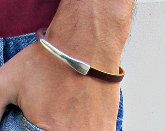 Dainty Silver Mens Leather Bracelet Cuff Silver Plating Magnetic Clasp Customized On Your Wrist Fathers day gift