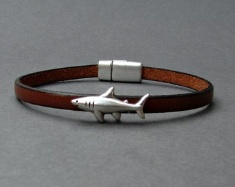 Shark Mens Leather Bracelet Cuff Boyfriend Gift Customized On Your Wrist