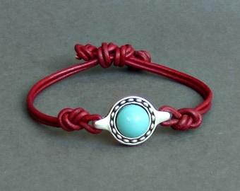 Gemstone Leather Bracelet, Unisex Leather Cord Bracelet His And Hers Silver Bracelet Adjustable