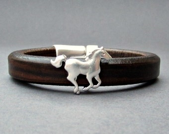 Running Horse, Mens Leather Bracelet, Cuff, Silver Plated, Magnetic Clasp Customized On Your Wrist, Fathers Day Gift Fathers day gift