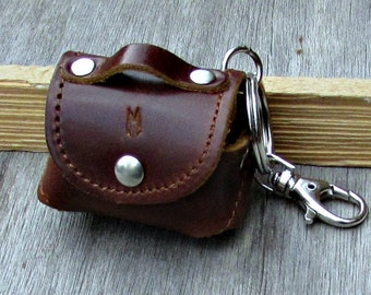 Personalized Leather Keychain, Custom Keychain, Engraved Keychain,Mens women, Tiny Leather Purse Keychain, Keyring, Keyfob,  Keyholder