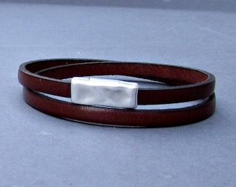 Hammered Leather Bracelet Leather Double Wrap Bracelet Cuff Brown Black Blue Silver Plated Magnetic Clasp Customized On Your Wrist