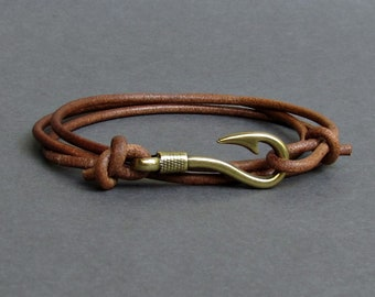 Fish Hook Leather Bracelet Boho Bracelet Mens Nautical Anchor wrap Bracelet Arrowhead Leather Bracelet Adjustable