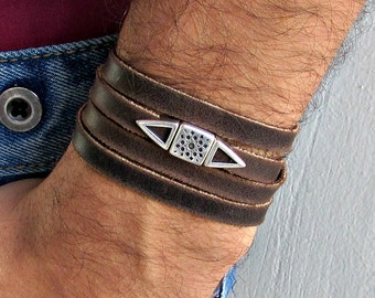 Multistrand Men's Leather Wrap Bracelet Cuff, Boho, Geometri Unisex Leather Bracelet, Adjustable to your wrist