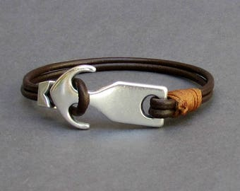 Anchor Bracelet Nautical Mens Leather Bracelet,Mens Gift, Antique Silver Plated, Customized On Your Wrist