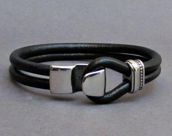 Hook Mens Stainless Steel Leather Bracelet, Leather Bracelet For Men, For Husband,  For Boyfriend, For Him, Boyfriend Gift, Mens Gift