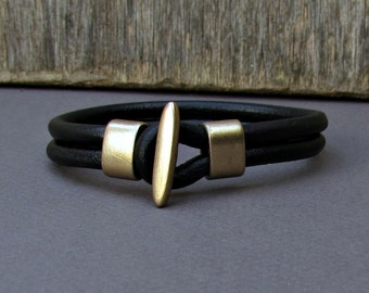 Mens Leather Bracelet Leather Men Bracelet Cuff  Brown Black Antique bronze oxidized, Customized On Your Wrist Fathers day gift