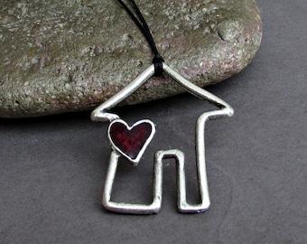 Small House Unisex Necklace Pendant, Silver Hut Charm, Cord Necklace Pendant, Adjustable