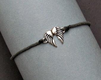 Angel Wings Bracelet, Silver Angel Wings Charm, Cord Bracelet For Men, Elastic Bracelet, Bestfriend Bracelet, Adjustable  6 - 9 1/2 Inches