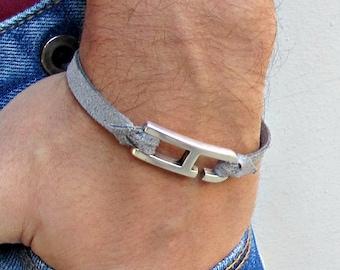 Geometric Bracelet Mens Leather Bracelet Cuff  Customized On Your WristFathers day gift