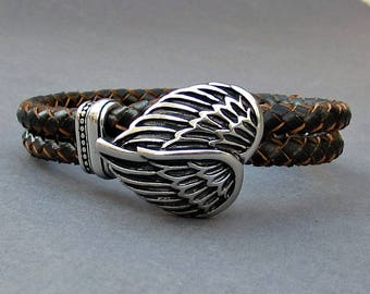 Angel Wings Braided Leather Bracelet, Mens Stainless Steel Leather bracelet Cuff Gift For Men Customized On Your WristFathers day gift