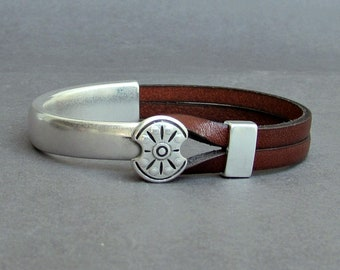 Leather Bracelet For Men Silver Ancient Shield Mens Leather Bracelet Customized On Your Wrist
