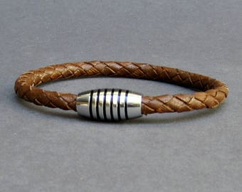 Braided, Leather Bracelet, Mens Titanium Stainless Steel Mens Leather bracelet Cuff Gift For Men Customized On Your WristFathers day gift