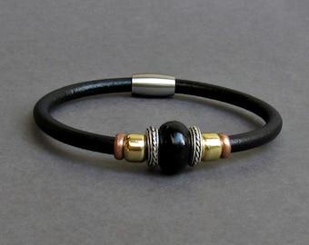 Black Agate Leather Bracelet For Men Women Beaded Gemstone Bracelet Silver Bracelet Boyfriend Gift Mens Jewelry customized to your wrist