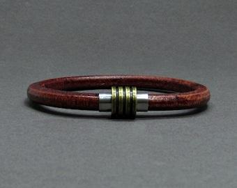 Boyfriend Gift, Bracelet For Men, Mens Bracelet Bronze Stainless Steel Leather Bracelet, For Boyfriend, Customised On Your Wrist
