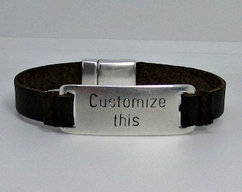 NEW DESIGN Custom Engraved Bracelet Mens Personalized Leather Bracelet, Engraved Bracelet, Gift For Men Women, Boyfriend Gift, Adjustable