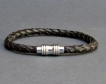 Mens Braided, Leather Bracelet Titanium Stainless Steel Mens Leather bracelet Cuff Gift For Men Customized On Your WristFathers day gift