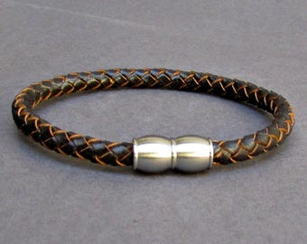 Mens Titanium Stainless Steel Leather bracelet, Braided Leather Bracelet, Cuff Gift For Men Customized On Your Wrist
