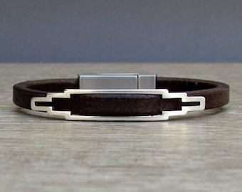 NEW DESIGN Bracelet For Men, Mens Bracelet, Leather Bracelet, Leather Mens Bracelet, Silver Plated Customized On Your Wrist