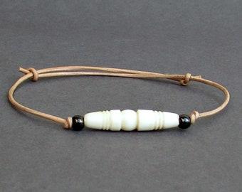 White Bone Bracelet, Carved White Bone, Leather Bracelet For Men, Gift for him, Bestfriend Bracelet, mens jewelry, Adjustable