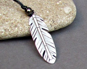Feather Mens Necklace Pendant, Mens Silver Leather Necklace, Best Friend, Boyfriend Gift Adjustable