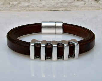 Men's Leather Bracelet Leather Mens Bracelet Cuff Silver Plating Magnetic Clasp Customized On Your Wrist Fathers day gift