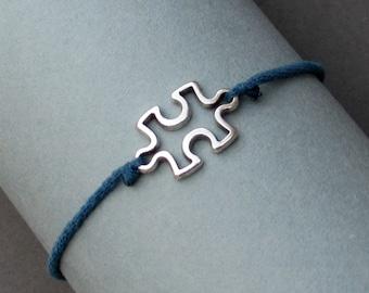 Silver Puzzle Bracelet, Silver Puzzle Charm, Cord Bracelet For Men, Elastic Bracelet, Bestfriend Bracelet, Adjustable  6 - 9 1/2 Inches