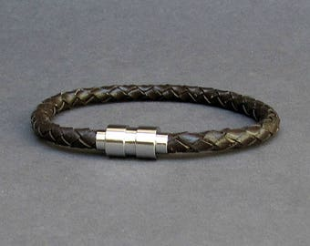 Titanium Stainless Steel, Braided, Mens Leather Bracelet, Mens Leather bracelet Cuff Gift For Men Customized On Your WristFathers day gift