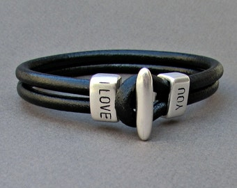 Engraved Bracelet Customized Mens Leather Bracelet Personalized Leather Men Bracelet Cuff  Antique Silver Plated Customized On Your Wrist