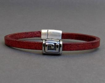 Mens Geometric Bracelet, Leather Bracelet For Men, Leather Mens Bracelet, Boyfriend Gift, Silver Plated Customized On Your Wrist