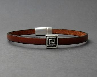Meander Bracelet For Men Silver Leather Bracelet Cuff Boyfriend Gift Customized On Your WristFathers day gift