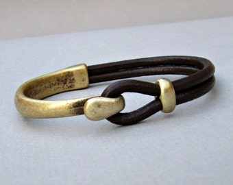 Mens Bracelet Leather, Leather Bracelet, Black Brown Leather Mens Bracelet, Antique Bronze Oxidation Customized On Your Wrist