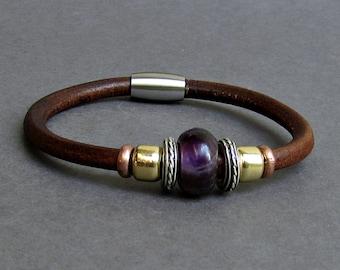 Amethyst Leather Bracelet For Men Women Beaded Gemstone Bracelet Silver Bracelet Boyfriend Gift Mens Jewelry customized to your wrist