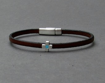 Tiny Cross Bracelet Mens Tiny Leather Bracelet Cross Dainty Bracelet Boyfriend Gift Customized On Your Wrist width 3mm Fathers day gift