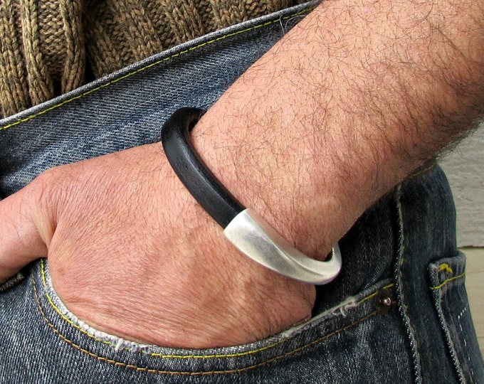 Featured listing image: Mens Leather Bracelet Mens Brown Black Leather bracelet Cuff Silver Plating Magnetic Clasp Customized On Your WristFathers day gift