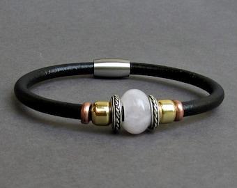Pink Quartz Leather Bracelet For Men Women Beaded Gemstone Bracelet Silver Bracelet Boyfriend Gift Mens Jewelry customized to your wrist