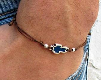 Cross cord bracelet, men's bracelet, silver, blue cross, bracelet for men, gift for him, mens jewelry, adjustable