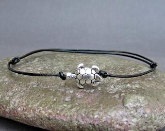 Tiny Turtle Men's Bracelet, Silver Turtle Charm, Leather Bracelet For Men, Gift for him, Bestfriend Bracelet, mens jewelry, Adjustable