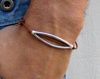 Unisex Simple Leather Bracelet His And Hers Silver Dainty Bracelet Adjustable