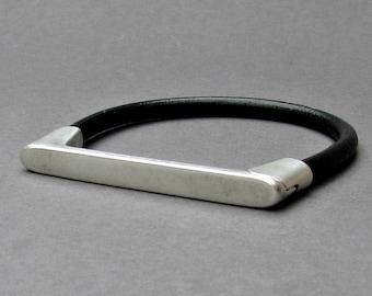 Silver, Mens Leather Bracelet Cuff, For Men, Mens Gift, For Husband, For Boyfriend, Gift for Men, For Him, Boyfriend Gift, Fathers Day Gift