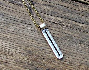Men's Necklace Men's Bar Long Necklace Men's Silver Necklace Mens Jewelry