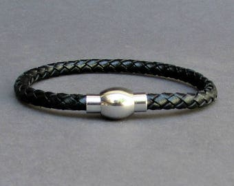 Braided, Mens Leather Bracelet Titanium Stainless Steel Mens Leather bracelet Cuff Gift For Men Customized On Your Wrist Fathers day gift