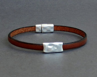 Silver Hammered Bar Mens Leather Bracelet Cuff Boyfriend Gift Customized On Your Wrist Fathers day gift