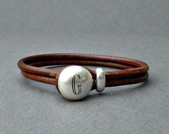 Personalized Mens Leather Bracelet,Custom Name Initial Monogram, Engraved Bracelet, Gift For Men, Husband Gift, Boyfriend Gift