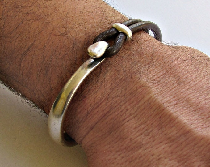 Featured listing image: Mens Bracelet Leather, Leather Bracelet, Black Brown Leather Mens Bracelet, Silver Plated, Mens Valentine's Gift, Customized On Your Wrist
