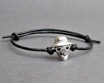 Smoking Skull, Men's Bracelet, Silver Skull Charm, Leather Bracelet For Men, Gift for him, Bestfriend Bracelet, mens jewelry, Adjustable