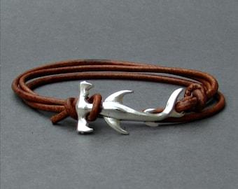 Shark Bracelet Mens Leather Wrap Boho Bracelet Unisex Leather Bracelet Adjustable